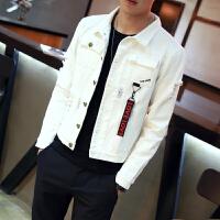 牛仔外套男韩版潮流 修身 帅气牛仔衣男个性破洞学生春秋季夹克薄