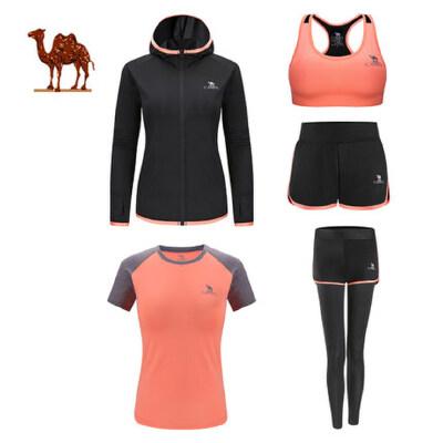 camel 骆驼瑜伽服女针织五件套 运动外套T恤内衣短裤长裤