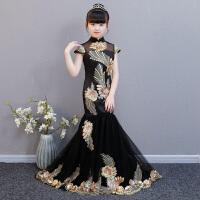 儿童礼服公主裙中国风演出服女童模特走秀拖尾鱼尾春夏长款晚礼服