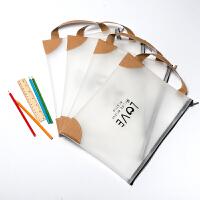 A4文件袋a5韩国学生拉链考试资料袋手提透明文件袋档案袋办公用品
