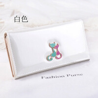 韩范钱包漆皮糖果色猫咪货夏季手拿包手机包女式钱包 白色