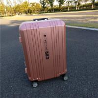复古铝框拉杆箱女24寸万向轮旅行箱26寸学生行李箱男20寸密码箱子 玫瑰金 010拉丝铝框款