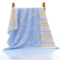 婴儿浴巾宝宝新生儿童6层纱布蘑菇盖毯毛巾被超柔吸水 6层 蓝色佩奇 110*110