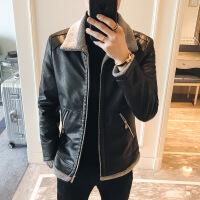 冬装皮夹克棉衣外套男帅气修身加绒加厚 黑色