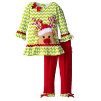 儿童圣诞套装女童圣诞节小孩衣服2-7岁小童秋装薄款 宝宝两件套装