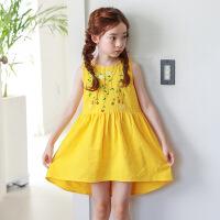 女童夏季裙子2018新款韩版小清新洋气裙子公主女孩衣服时尚连衣裙 黄色