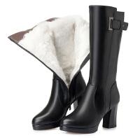 冬季真皮�L靴子高筒全皮高靴皮毛一�w�q毛女鞋粗跟高跟女棉鞋皮靴SN8414 黑色真皮短�q里 南�O�q