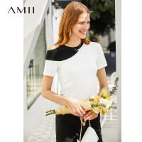 【预估价115元】Amii极简小心机欧货绿色T恤女2019夏不对称撞色露肩短袖针织上衣