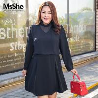 MsShe加肥加大码女装2017新款秋装绑带领雪纺拼接连衣裙M1710240