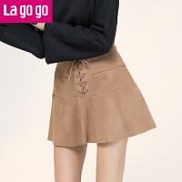 Lagogo2017年秋冬新款复古驼色绑带高腰显瘦A字半身裙女短款裙子