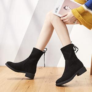 ZHR短靴女韩版瘦瘦靴粗跟单靴中筒靴百搭学生女靴2018冬季新款