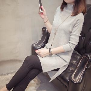 2018秋冬新款女装套头衫中长款针织毛衣韩版长袖高领宽松纯色针织