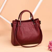 中年女包手提包2018新款简约单肩斜挎包水桶包时尚女士包包妈妈包