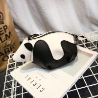 冬季新款女包韩版可爱熊猫定型单肩包斜跨小包包学生迷你手机包潮 黑色