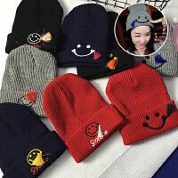 韩国冬季新款毛线帽潮卡通流苏笑脸表情刺绣针织帽保暖帽子字母女