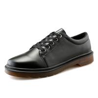 黑色小码皮鞋青年休闲鞋英伦皮靴秋季潮男鞋韩版圆头学生马丁鞋子 黑色