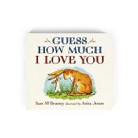 【送音频】猜猜我有多爱你Guess How Much I Love You英文原版绘本纸板书廖彩杏书单 宝宝撕不烂纸板