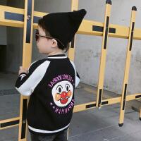 秋冬男女童黑色纯棉针织面包棒球服宝宝超人绣花外套灰色开衫
