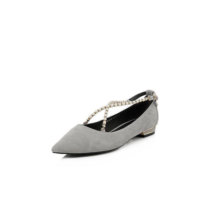 BASTO/百思图2018春季专柜同款绒面羊皮珍珠尖头浅口女单鞋YRL01AQ8