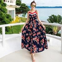 2018夏季新款露肩波西米亚吊带度假连衣裙海边沙滩长裙