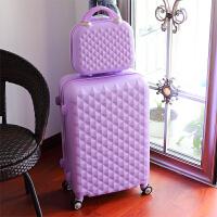 可爱行李箱女密码箱拉杆箱旅行箱万向轮24寸28寸结婚箱硬箱皮箱 紫色 钻面#紫色