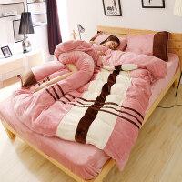 纯色韩版法莱绒保暖加厚珊瑚绒法兰绒床笠床单被四件套1.8m1.5米 Rose Olny