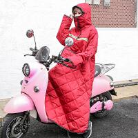 电瓶车挡风被男女款冬季保暖加绒加厚带帽罩防水电动摩托车挡风衣