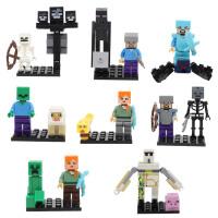 兼容乐高我的世界拼装玩具积木人仔小人偶人物大全钻石史蒂夫恶魂 16款经典人仔动物(袋装) 带小地板