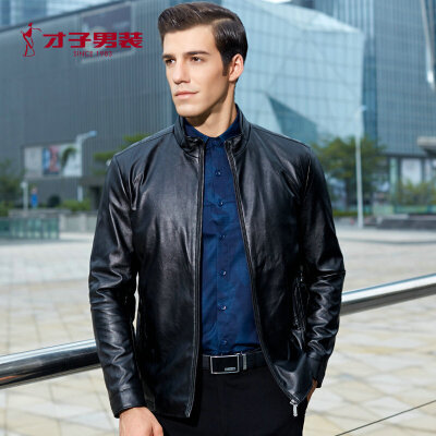 才子男装(TRIES)夹克男秋冬纯色PU时尚休闲夹克外套