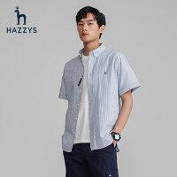 Hazzys哈吉斯夏季新品�l�y短袖�r衫英��格子男士�r衣修身�棉上衣