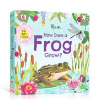 【全店300减100】英文原版纸板书 How Does A Frog Grow? 青蛙是如何长大的 儿童启蒙认知英语阅读