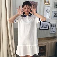 2018夏季新款少女中长款POLO领短袖连衣裙学院风学生韩版荷叶边裙