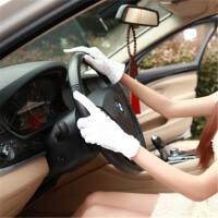 2018新款春夏男女棉司机点胶防滑手套薄款开车驾驶防晒手套白色礼仪手套 均码