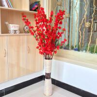 新房装饰仿真桃花樱花枝婚庆假花束客厅落地摆设塑料永生花艺 红色 1.2米套装含瓶