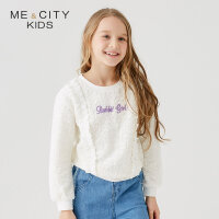 【1件2.5折到手价:53.8】米喜迪mecity童装春新款女童镂空蕾丝荷叶边套头卫衣