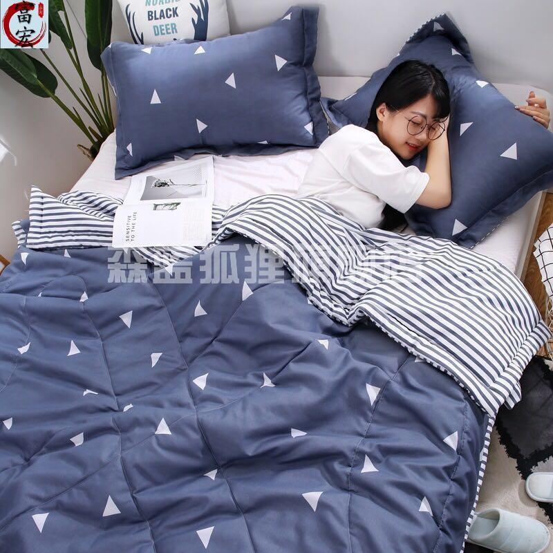 单人夏日带空调被被罩婴儿盖被加厚草莓套装单件枕头被小孩拆洗