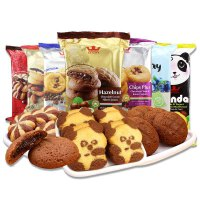【促销】马来西亚tatawa塔塔瓦熊猫进口曲奇饼干巧克力味软馅曲奇4包组合
