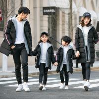 亲子装冬装2018新款棉袄衣服一家三四口全家庭装中长款外套厚潮帽