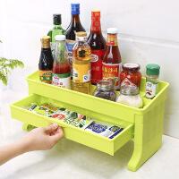 双层带抽屉置物架厨房用品调料收纳架多功能塑料调味品落地储物架