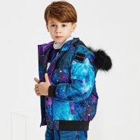 【1件1.5折到手价:119.25】米喜迪mecity童装冬男童保暖毛领连帽可拆卸短款羽绒服