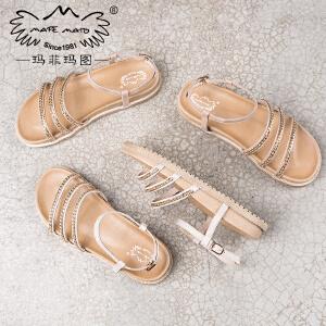 玛菲玛图新款简约百搭学生露趾凉鞋女韩版平底真皮休闲女鞋M198180832T6