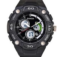 时尚潮流多功能电子手表双显防水男士高档手表三达表