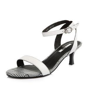 Tata/他她2018夏专柜同款牛皮格纹一字带猫跟鞋高跟女凉鞋2IC07BL8