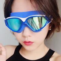 男女大框电镀平光/近视泳镜防水防雾潜水游泳眼镜