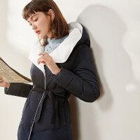 【清仓399元】梵希蔓羽绒服女中长款过膝冬季韩版修身显瘦连帽加厚白鸭绒外套