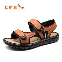 红蜻蜓凉鞋男新款夏季防滑两用沙滩凉鞋男户外休闲皮凉鞋