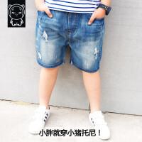 男童短裤夏新款浅蓝牛仔胖儿童加肥加大宽松裤子