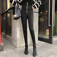 打底裤女2018春装新款韩版时尚百搭黑色铅笔裤高腰修身拉链小脚裤