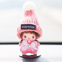 蒙奇奇汽车内饰品韩国高档创意卡通车载车用空调出风口香水夹摆件