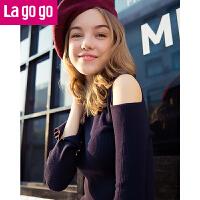 【满200减100】Lagogo开衩喇叭袖露肩针织衫女2017秋装新款时尚套头黑色打底毛衣GCMM438M04